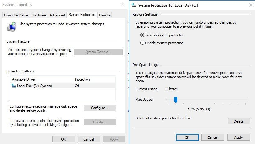 system protection on Windows Server 2016