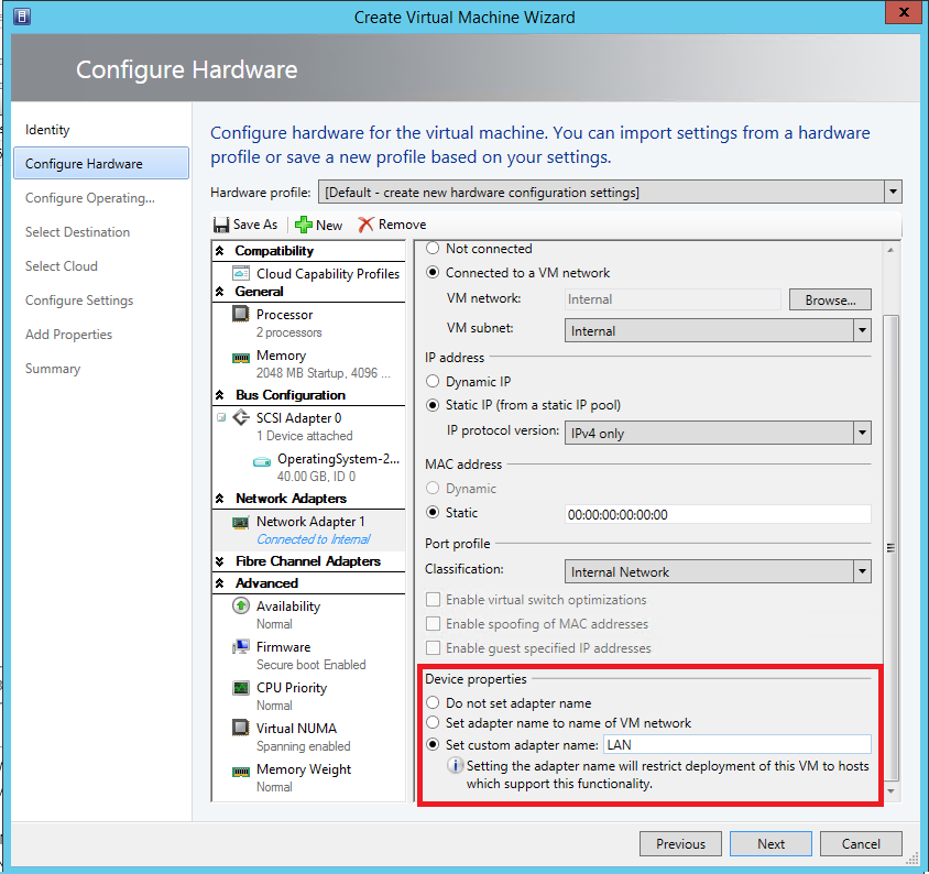 harware configure
