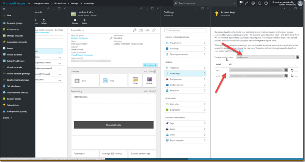 Microsoft Azure storage account name and the primary key