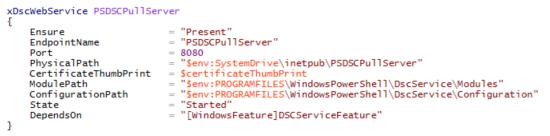 xDs cWeb Service PSDSC Pull Server