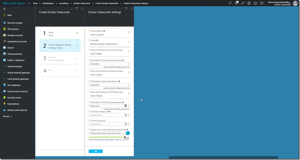 Microsoft Azure Docker Datacenter Settings