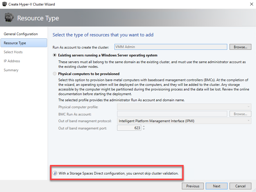Storage Spaces Direct cluster creation