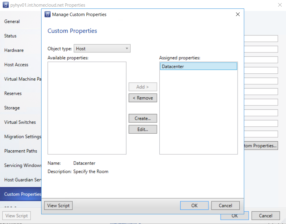 VMM Custom Properties