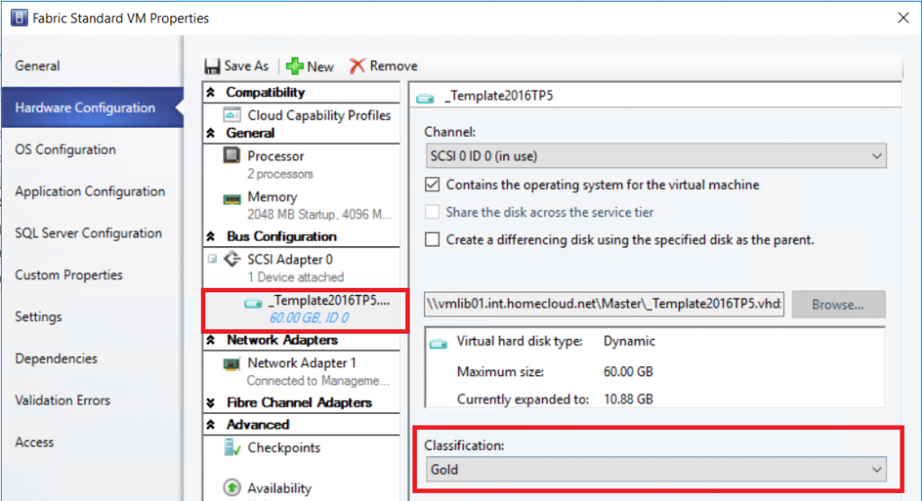 template to deploy the VM in a Storage Spaces