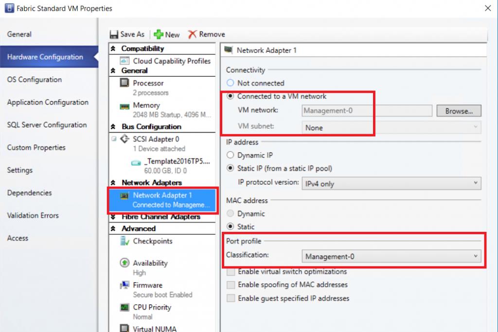 modifying the vNIC configuration