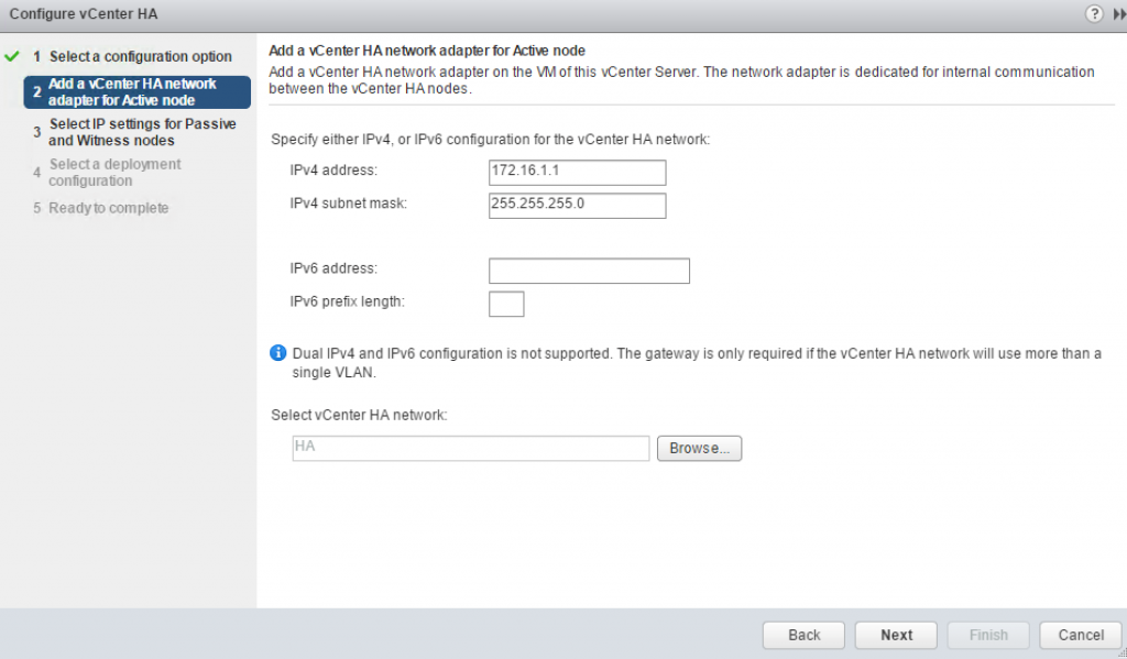configure vCenter HA