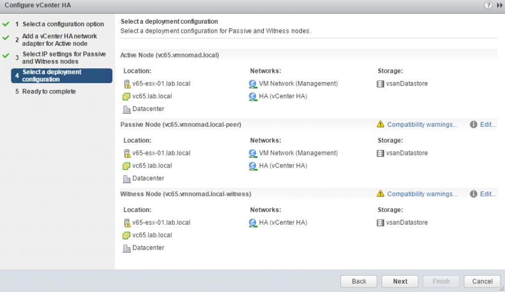 Configure vCenter HA