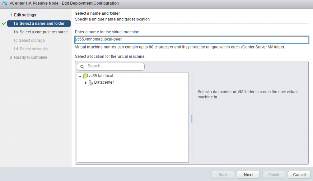 vCenter HA Passive Node - Edit Deployment Configuration