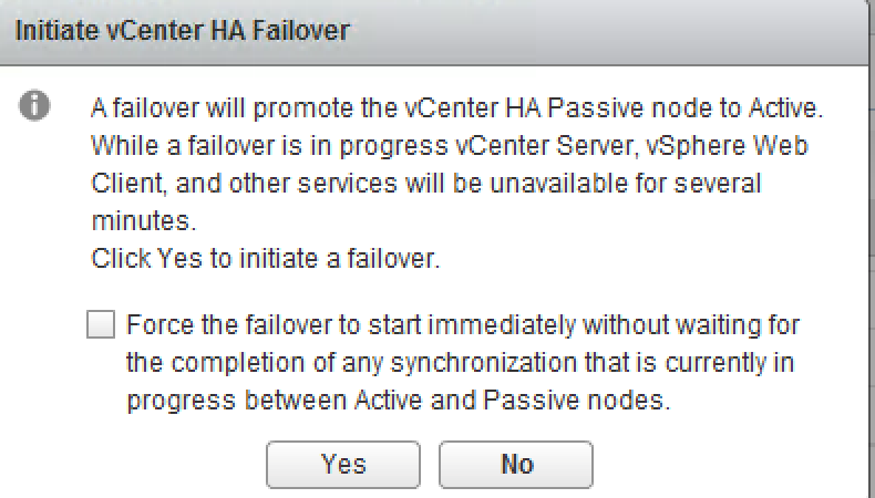Initiate vCenter HA Failover