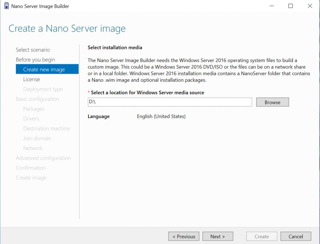 Create a Nano Server image