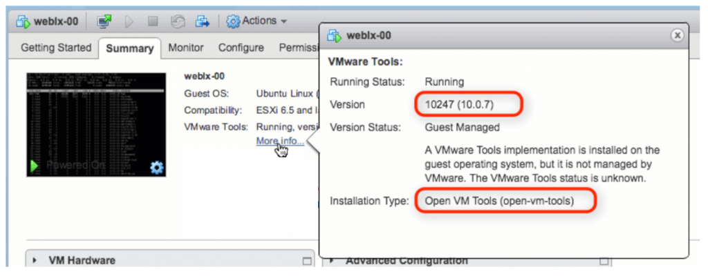 ESXi running version notification