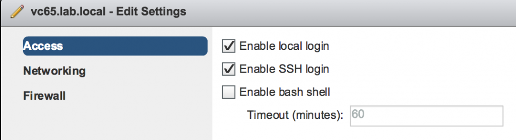 Enable SSH access on vCSA