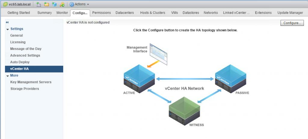 VCHA Configure menu