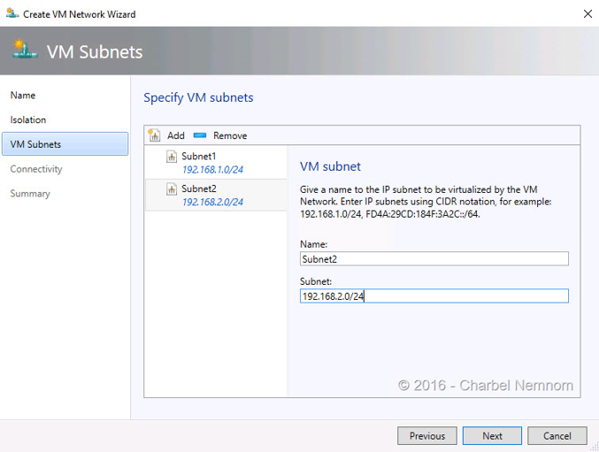 Create VM Network Wizard