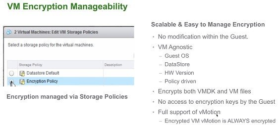 VM encryption manageability