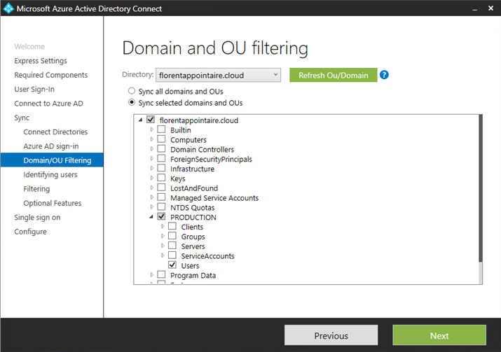 Microsoft Azure AD Connect Domain and OU filtering