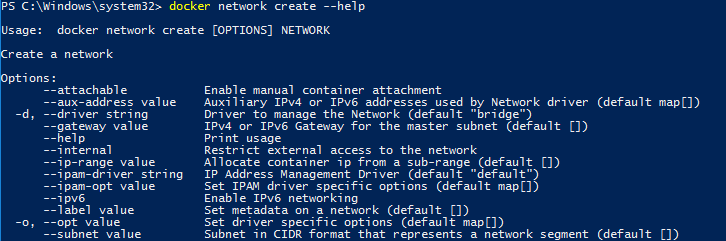 PowerShell command docker network create