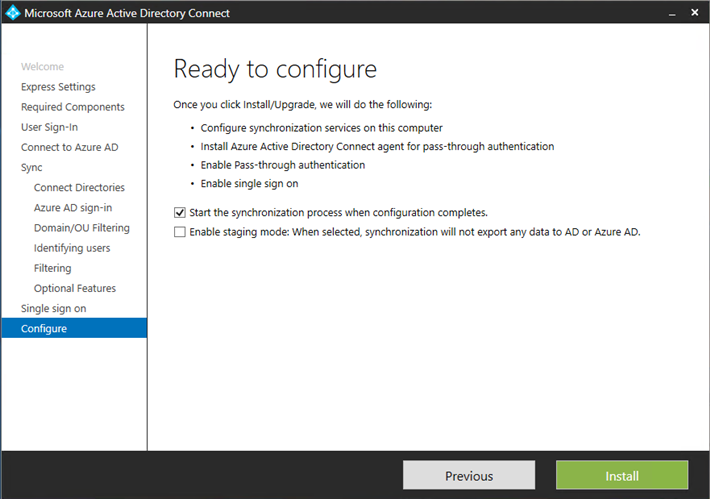 Microsoft Azure AD Connect ready to configure