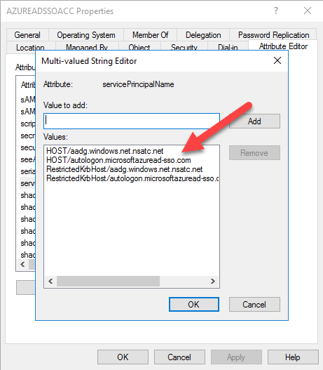 AZURE AD SSO ACC properties Multi-valued string Editor