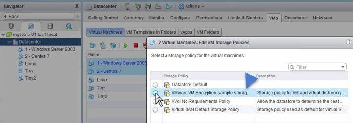 Edit VM Storage Policies