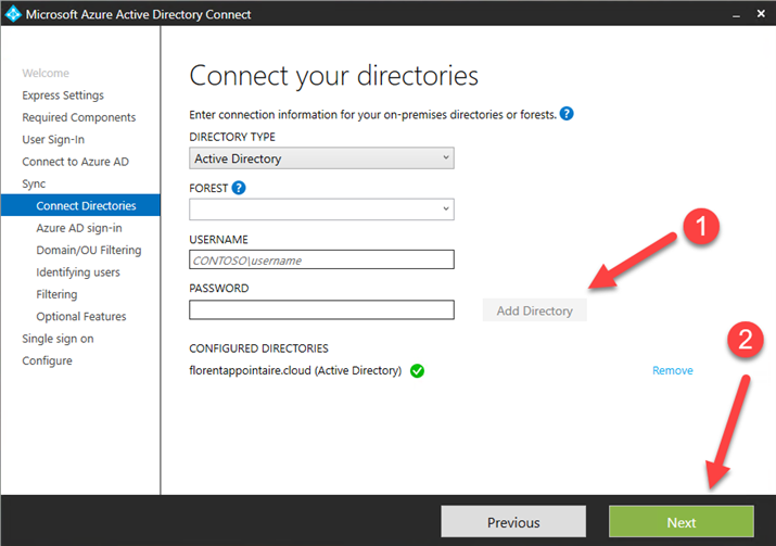 Microsoft Azure AD Connect view