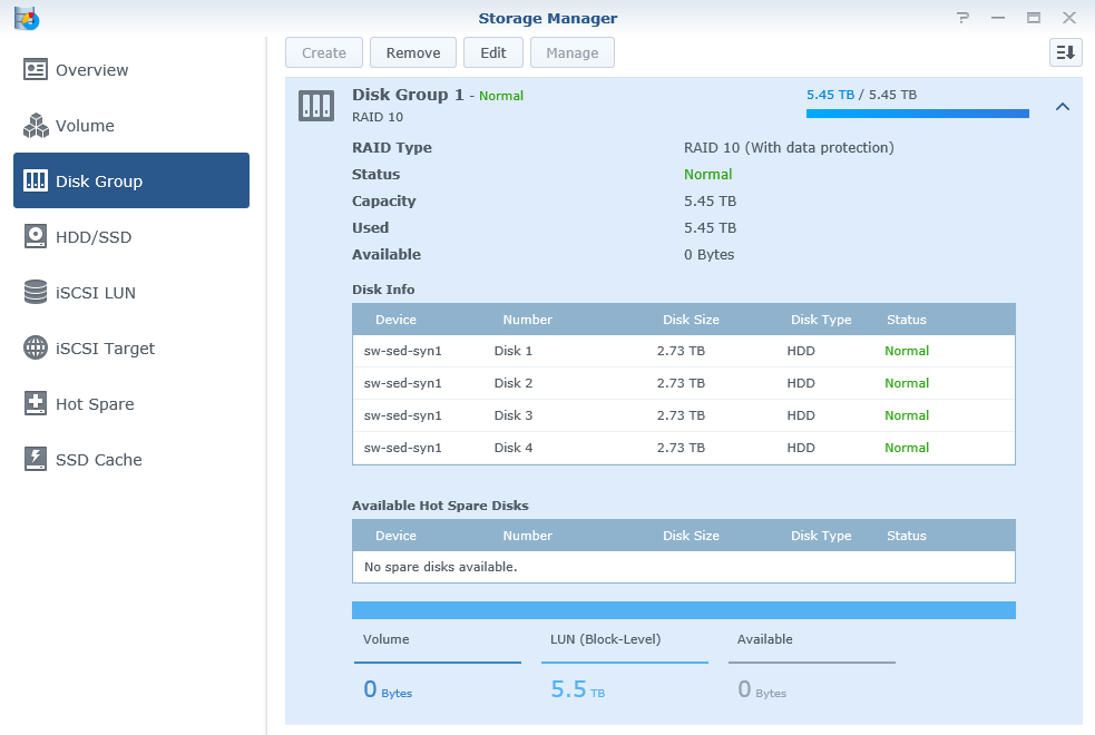 DSM Storage Manager Disk Group view