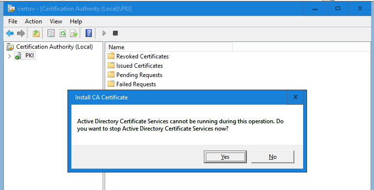Install CA Certificate window