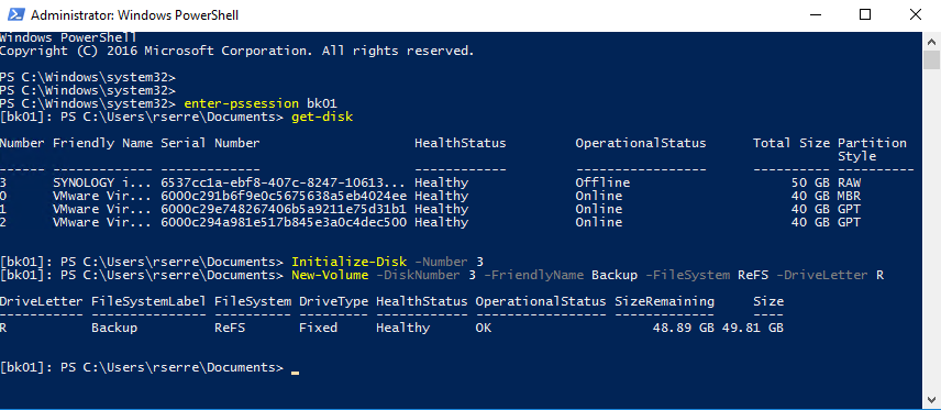 PowerShell command creating a new volume