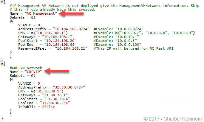 Specify the IP address for Management GRE VM logical networks