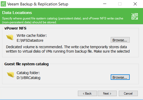Veeam Backup and Replication setup Data Location