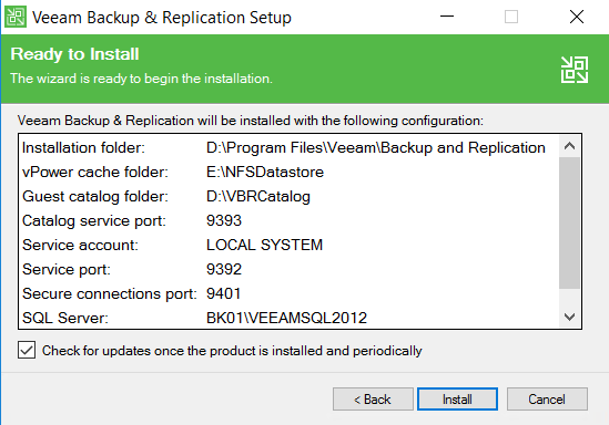 Veeam Backup and Replication setup Ready to install view