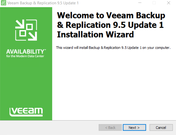 Veeam Backup and Replication 9.5 Update 1 Installation Wizard