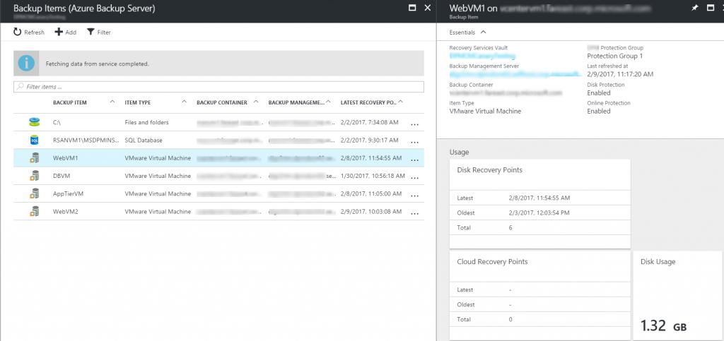 Azure Backup Server Backup Items