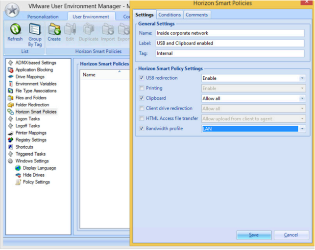 VMware User Environment Manager Managment console Horizon Smart Policies