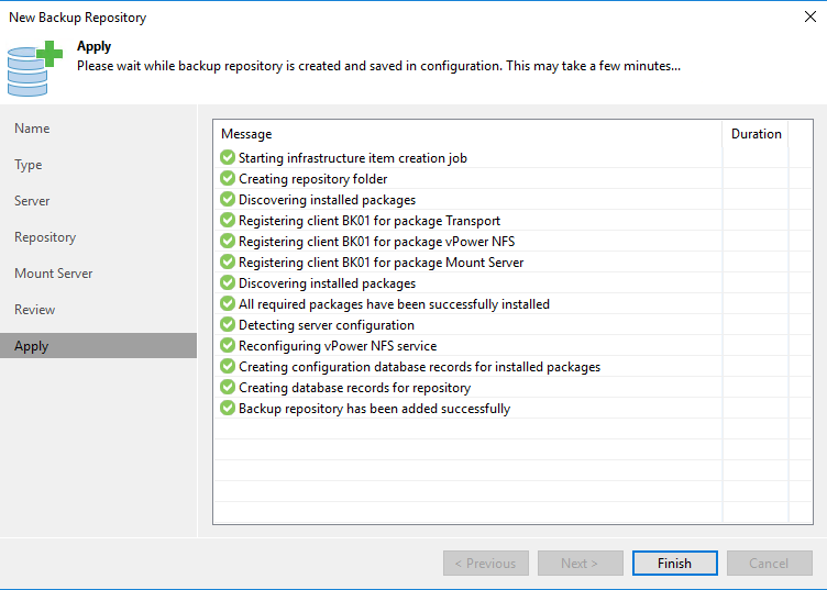 New backup repository applying