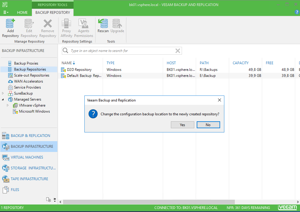 Veeam Backup and Replication backup infrastructure notification