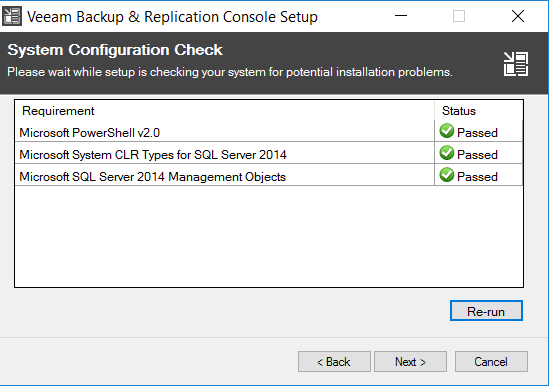 Veeam Backup & Replication Console setup system configuration check view