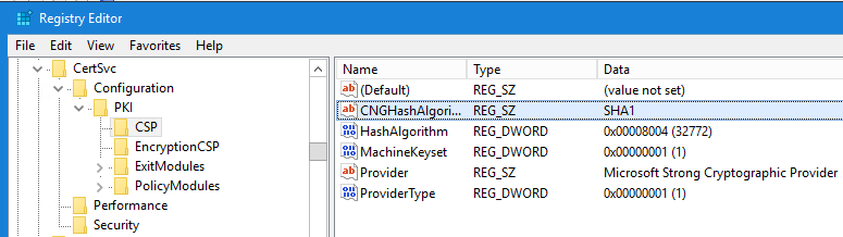 CSP registry key