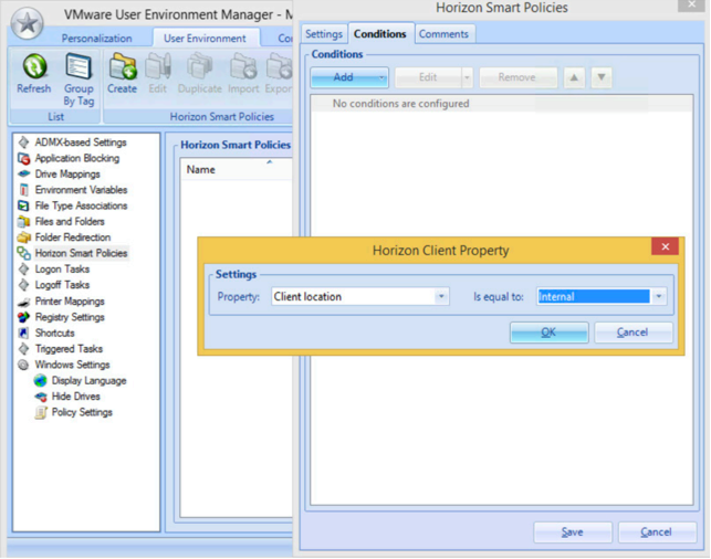 VMware User Environment Manager Managment console Horizon Client Property