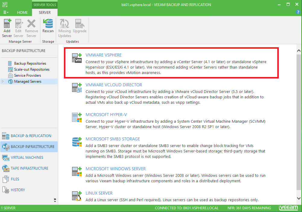 Connect Veeam to vCenter and add a Backup repository