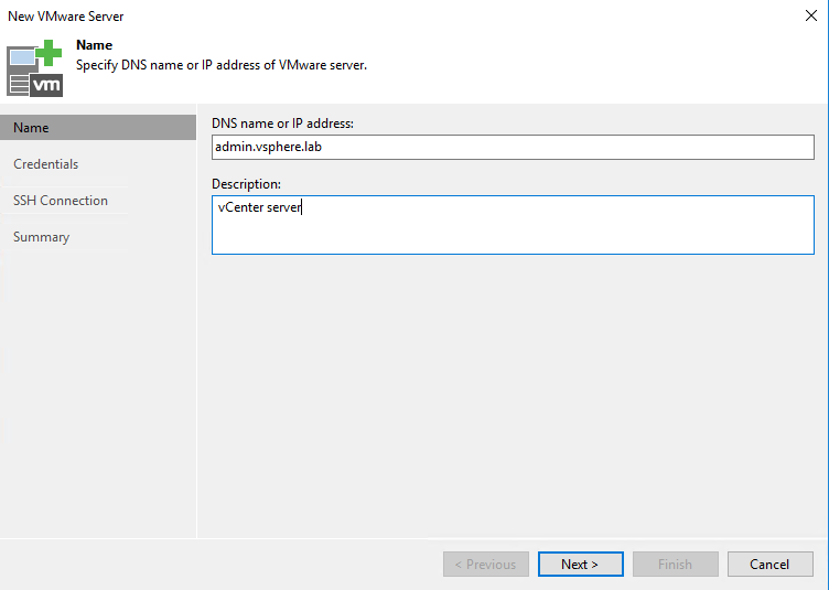 New VMware Server creation view