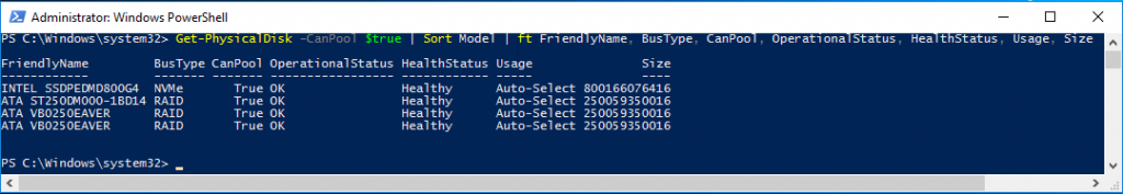 3 - PowerShell command adding BusType