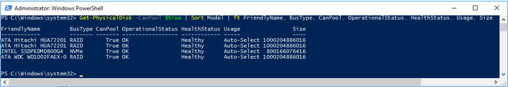 PowerShell command adding BusType