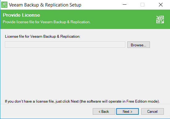 Veeam Backup and Replication Setup view
