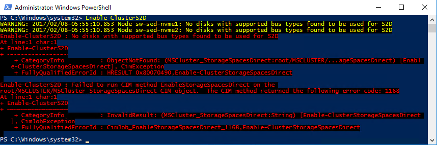 PowerShell command Enable Cluster S2D
