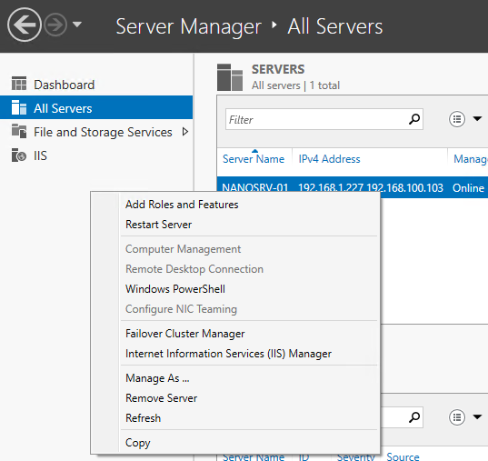 Server Manager view
