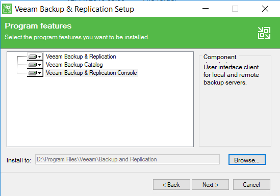 Veeam Backup and Replication Program features