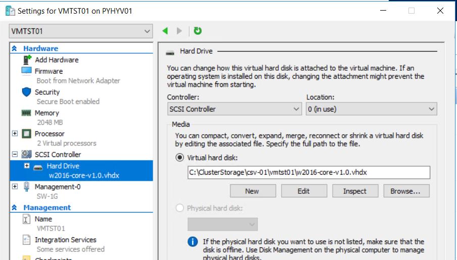 attaching VHDX to the VM
