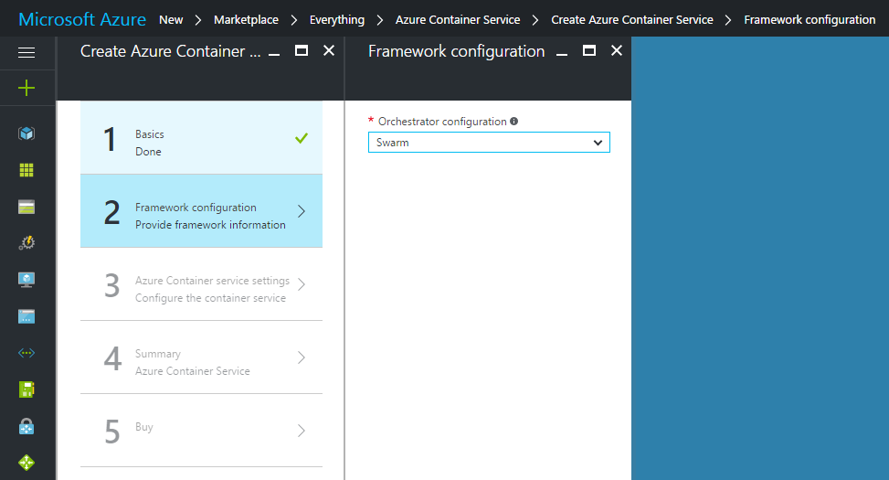 Azure Container Service Framework configuration
