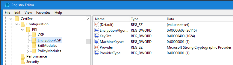 EncryptionCSP registry key